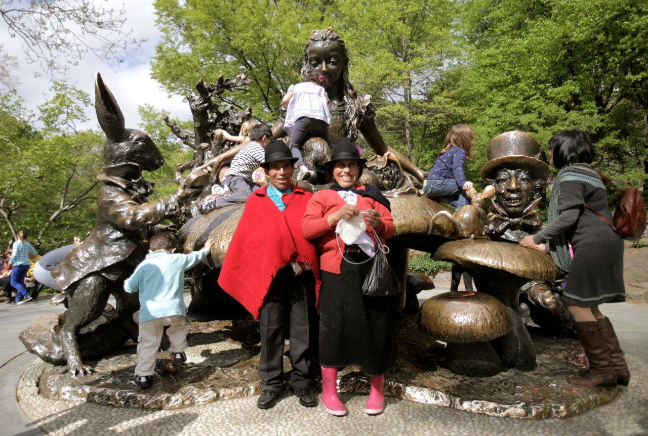 At the Alice in Wonderland statue in Central Park