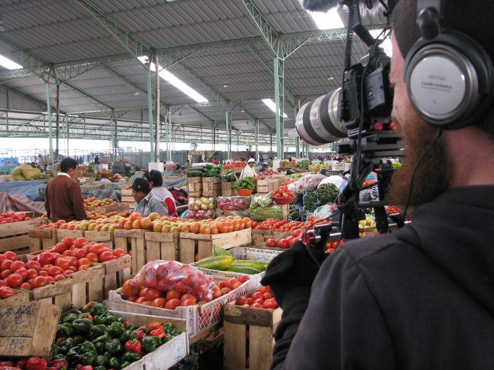 Shooting as Gregorio buys fruit for his ice cream