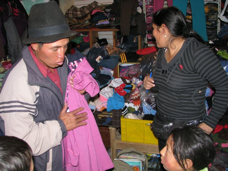 Taking the family clothes shopping in Riobamba